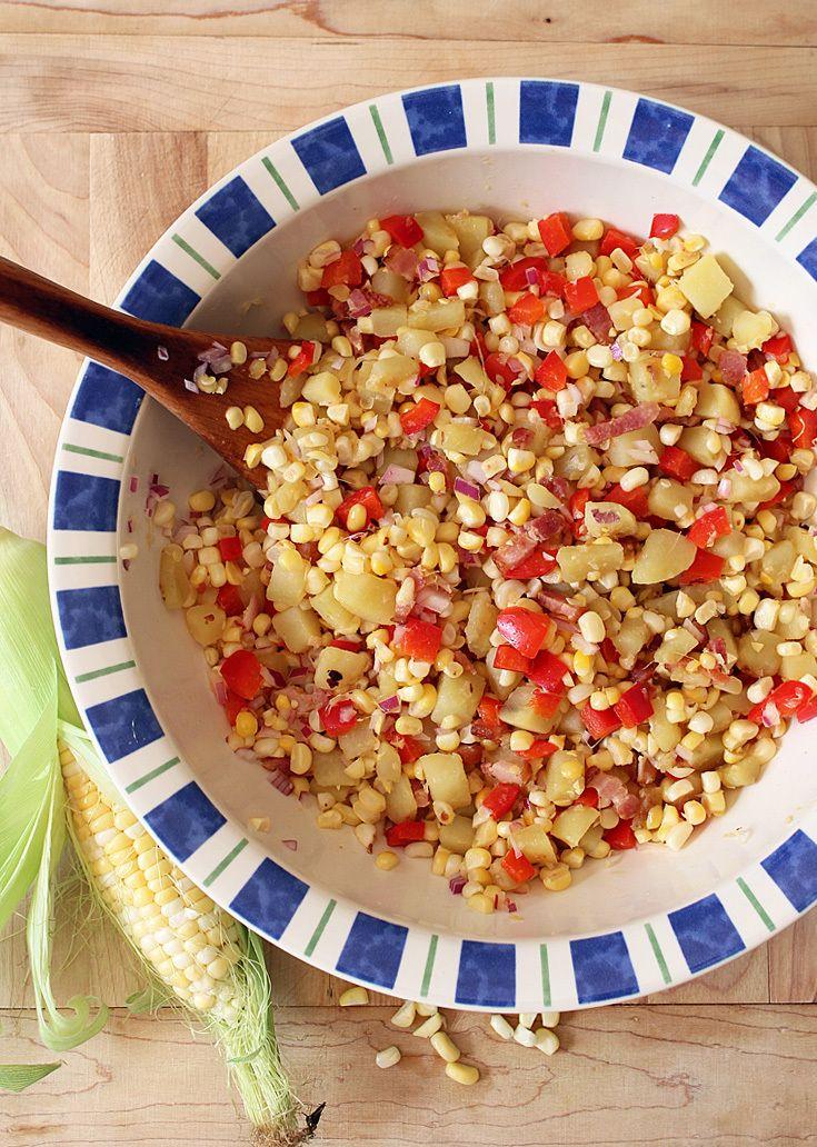 Salade de maïs tiède façon chaudrée et lardons via blancgrenade.com