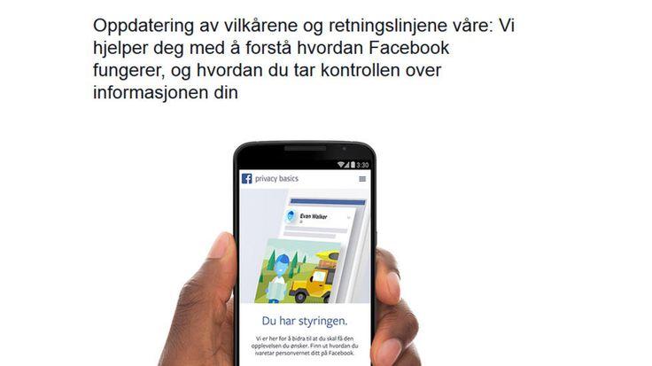 NYE RETNINGSLINJER: Facebook oppdaterer retningslinjer og vilkår, som trer i kraft 1. januar  2015. Skjermdump: Facebook.