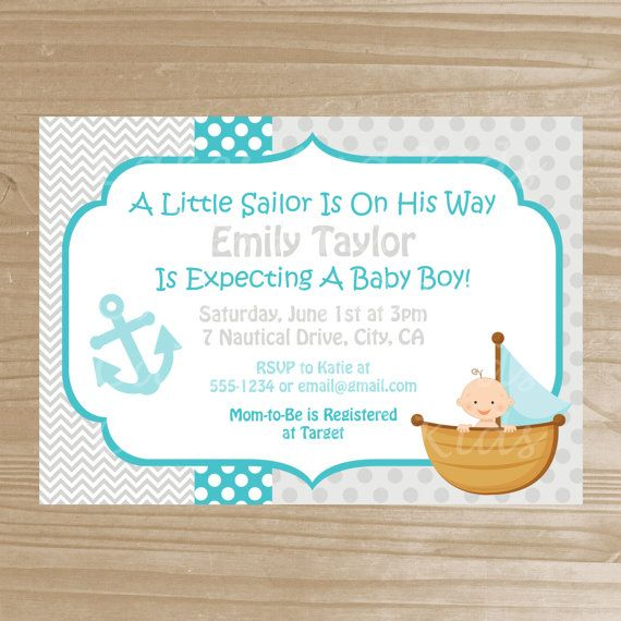 Sailor Baby Shower Invitation - Baby Boy Nautical Invitation - Printable Baby Shower Invite - Digital File