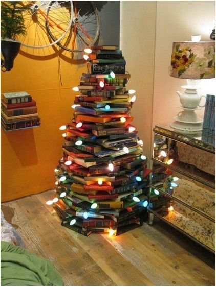 Christmas tree out of books!!