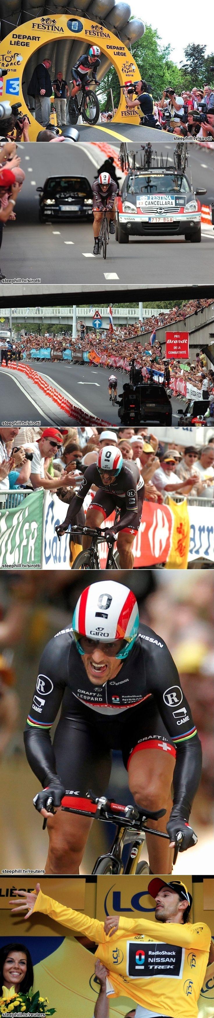 2012 30/6 proloog Luik > Fabian Cancellara van start tot aankomst op weg naar proloogwinst én gele trui