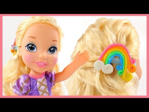 How to Make Baby Alive Ariel Rainbow Hair Clip Ribbon DIY for Disney Pri...