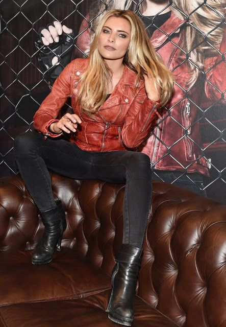 Celebrities In Leather: Sophia Thomalla wears a red leather jacket