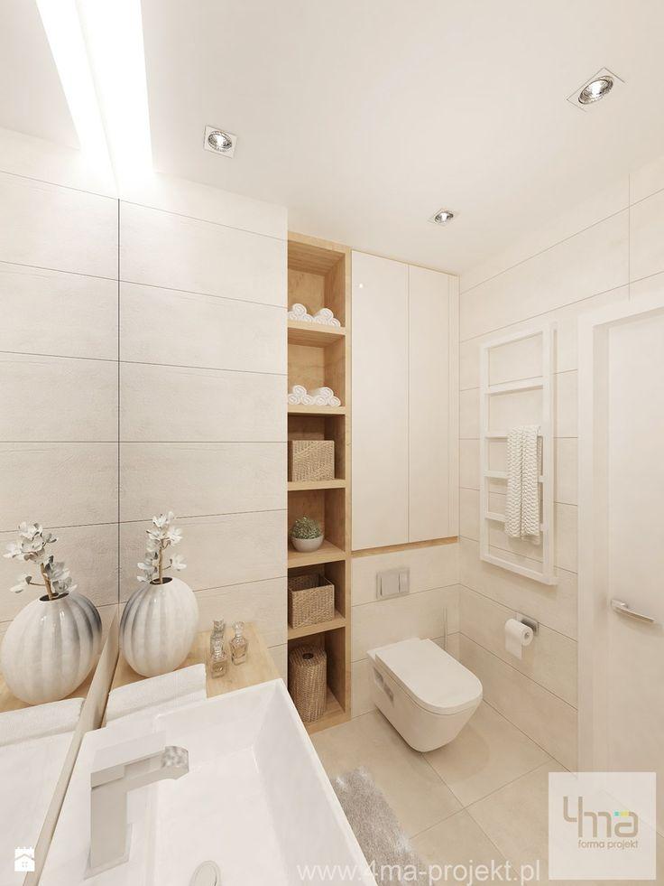 Projekt salonu z aneksem kuchennym 22 m2 i łazienki 5,2 m2. - Mała łazienka w bloku bez okna, styl nowoczesny - zdjęcie od 4ma projekt