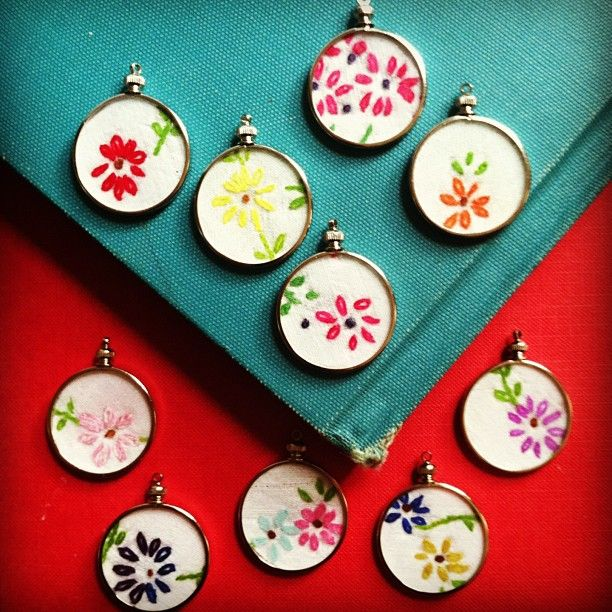 embroidery necklaces - these are made using charms from Hobby Lobby + vintage linens. So fun, pretty and easy