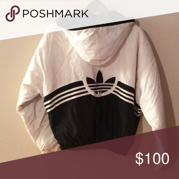 Addidas Black and White Jacket ⚽️💋 Really cute Rare Vintage Addidas Zip Up Hooded Jacket. Great condition! Women's Size Large. 💋 Adidas Jackets & Coats
