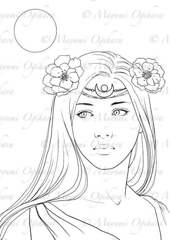 Moon Princess Digital Stamp Colouring Page Printable Instant Download Witch Coloring Pages Coloring Pages Drawing Cartoon Characters