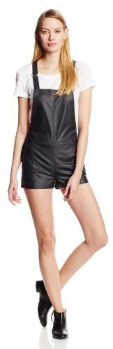 $42, Black Leather Overall Shorts: Townsen Rookie Vegan Leather Overall Romper. Sold by Amazon.com. Click for more info: https://lookastic.com/women/shop_items/73668/redirect