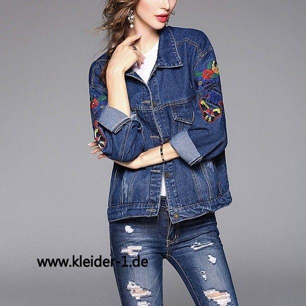 Damen Jeans Jacke mit Muster in Blau