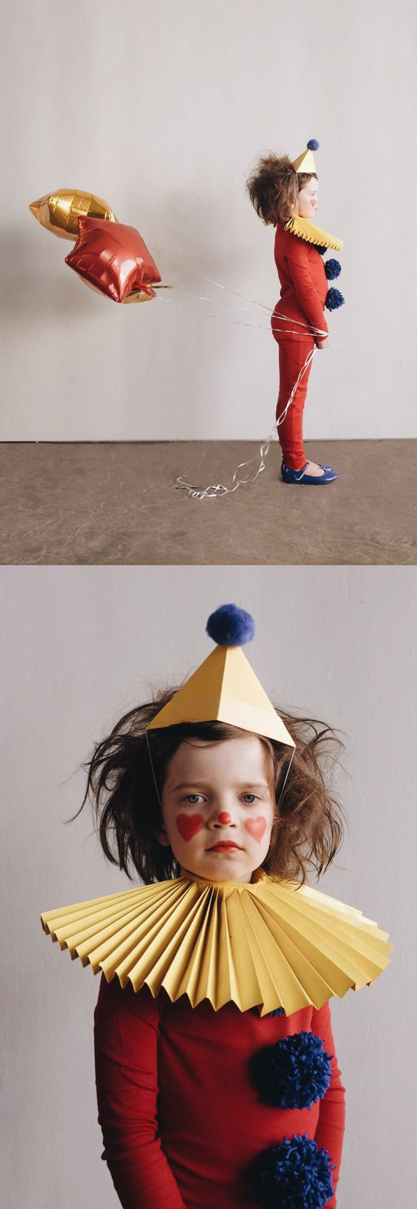 DIY Clown Costume - Start with the Primary pjs in cherry and hero party hats and yarn balls from That Playhouse. Add a simple paper collar and you are all set. Easy to remove when that tired little tr