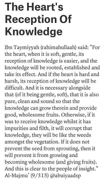 Ibn Taymiyyah in the heart