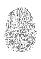 Make a fingerprint of each student, enlarge on copier, use under thin paper. Follow line of print with descriptor words.