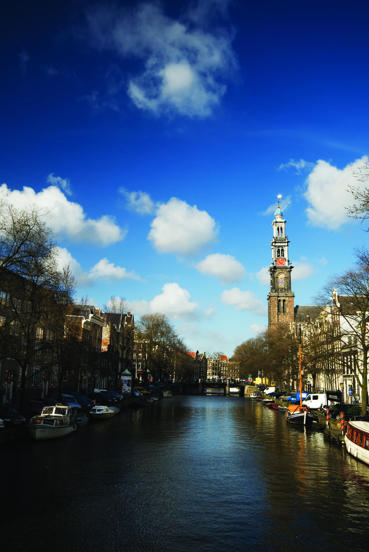 View down the canal towards Westerkerk, Amsterdam