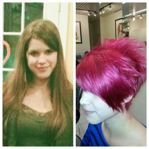 Before And After Pixie Cut With A Long Bang Red Matrix