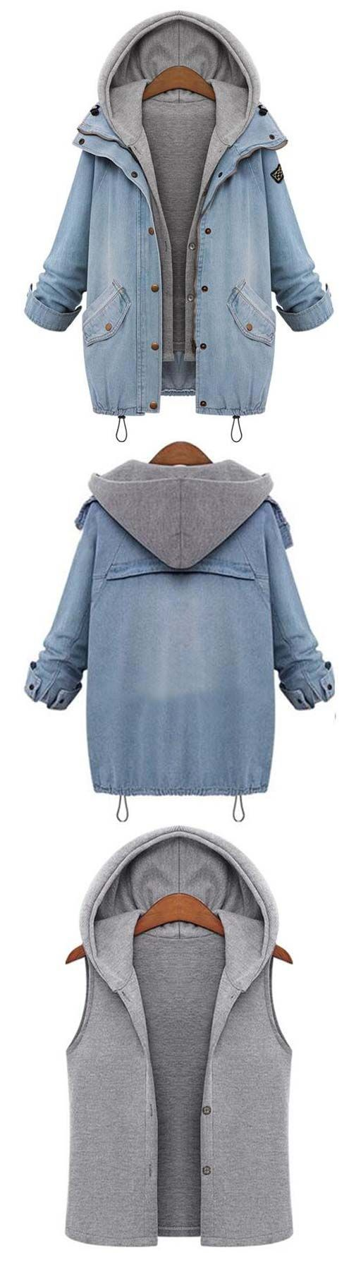 Catch the last of the fall heat and welcome winter's coming. The Always You Coat features a hooded vest and denim coat. Shop this look at CUPSHE.COM !