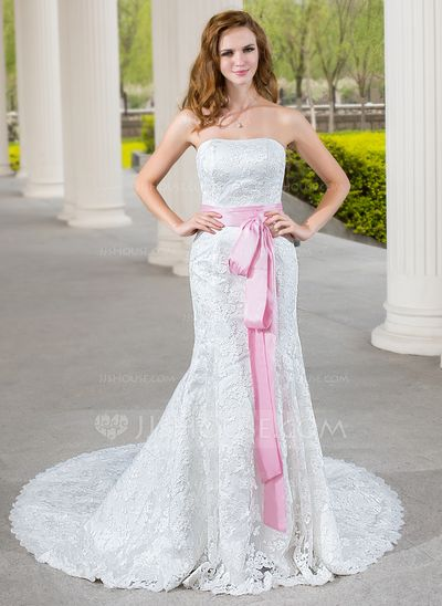 Wedding Dresses - $219.99 - Mermaid Sweetheart Chapel Train Taffeta Lace Wedding Dress With Sash (002000689) http://jjshouse.com/Mermaid-Sweetheart-Chapel-Train-Taffeta-Lace-Wedding-Dress-With-Sash-002000689-g689?ver=xdegc7h0