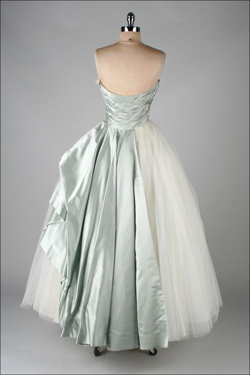 Vintage 1950's Ceil Chapman Silk Satin Millinery Trim Dress | From a collection of rare vintage evening dresses at http://www.1stdibs.com/fashion/clothing/evening-dresses/