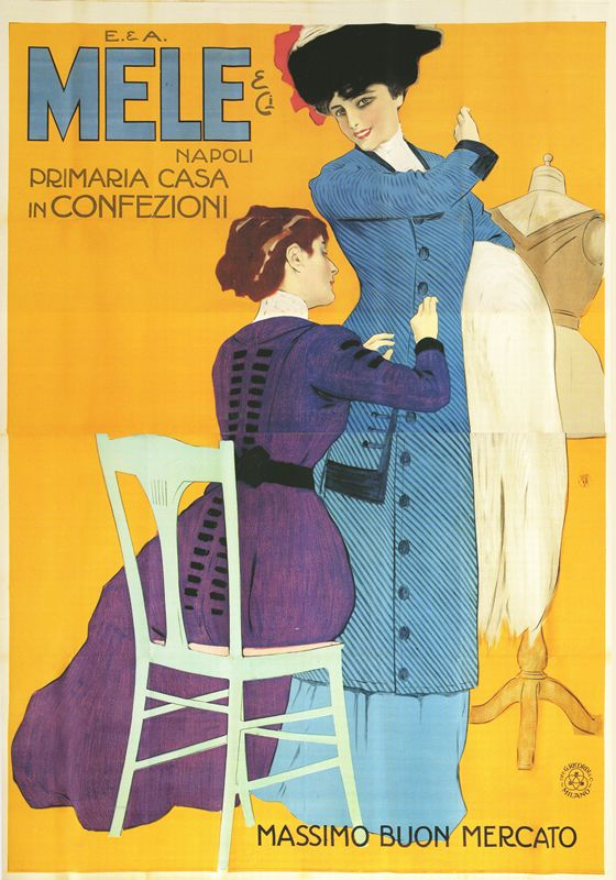 Artist Unknown poster: Mele - Primaria Casa in Confezioni (orange/seamstress)