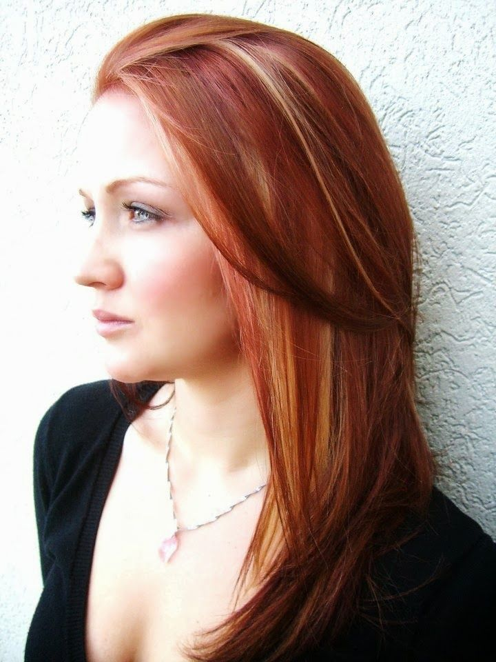 medium hairstyles with bold highlights and low lights | Medium Red Hair with Caramel Highlights