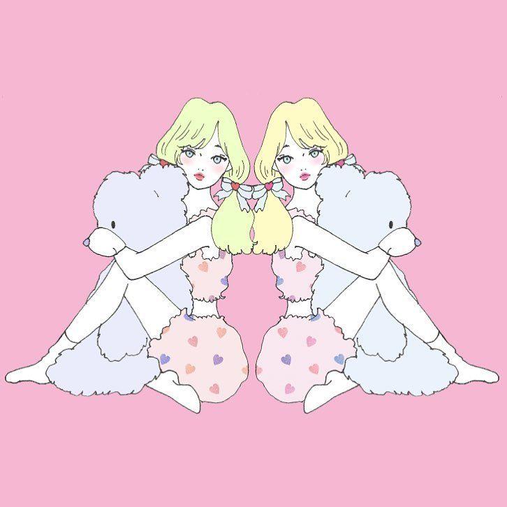 くまと女の子💘    #illustration #イラスト#bear#girl#くま#ぬいぐるみ