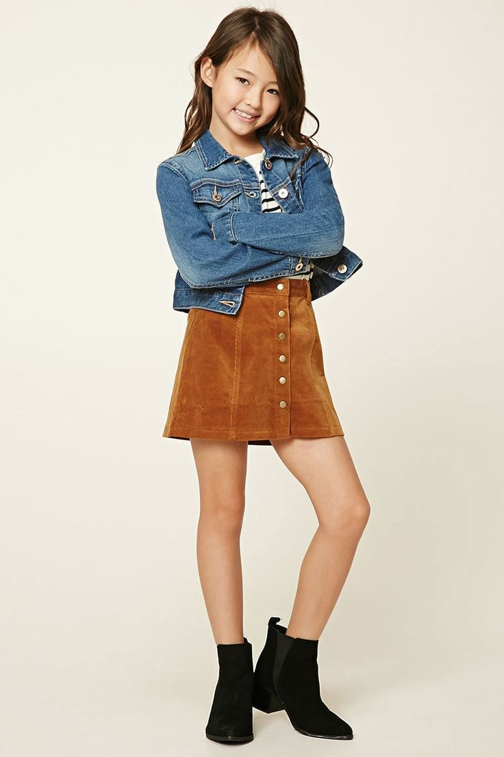 Forever 21 Girls - A corduroy skirt featuring a button-down front, belt loops, and elasticized back.