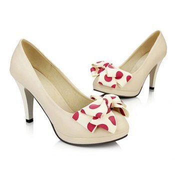 Work Polka Dots Bowknot Design Women's Pumps, WHITE, 39 in Pumps   DressLily.com