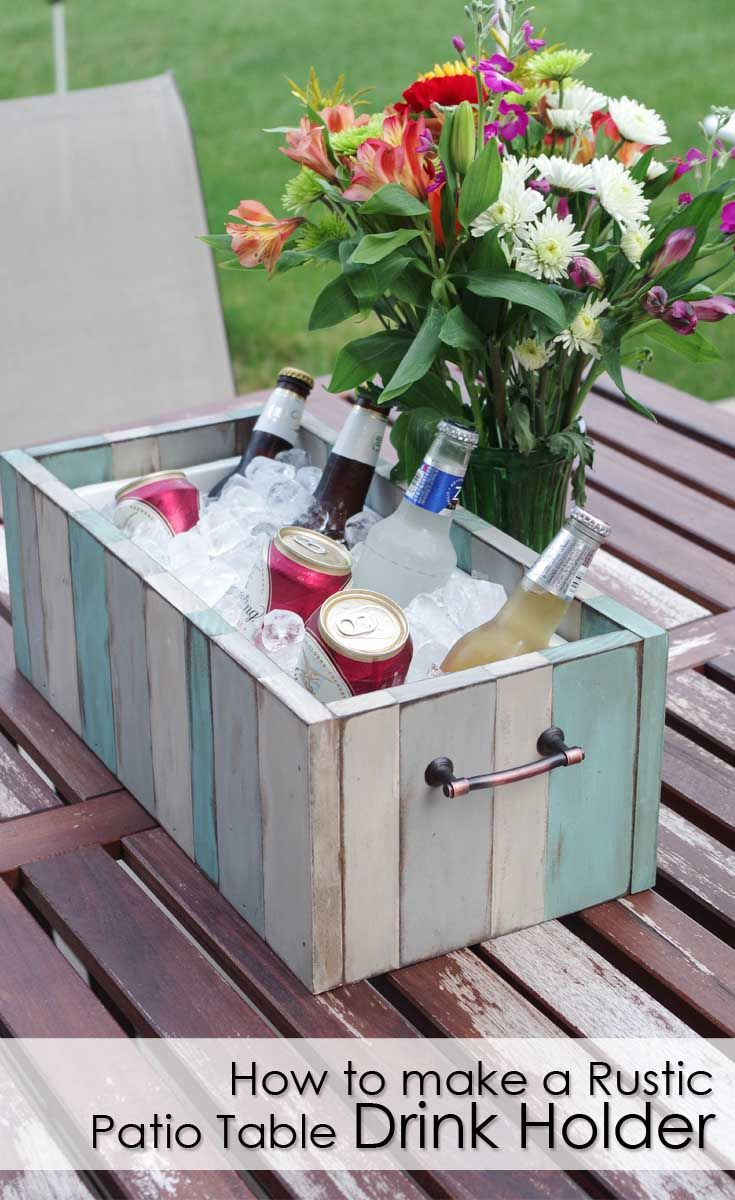 Rustic Patio Table Drink Holder