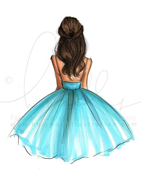 drawing easy girly drawings illustration sketches simple illustrations pencil sketch grace draw dresses cool hnillustration kresby wind blows jednoduche hair