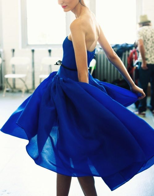 Backstage: Jason Wu Spring 2012 Collection at New York Fashion Week: Strapless Dresses, Fashion Style, Blue Dresses, Cobalt Blue, Jason Wu, Royals Blue, Deep Blue, Electric Blue, Jasonwu