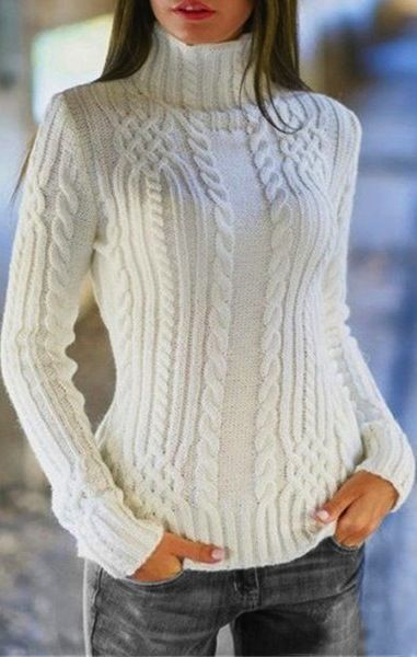 Charming Solid Color Turtleneck Twist Wave Thick Pullover Sweater For Women