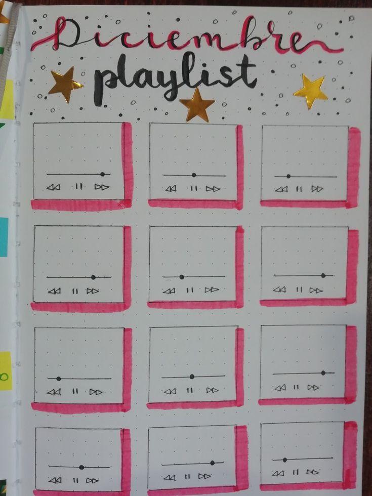 Lista de reproducción de diciembre Bullet journal páginas en español BuJo inspiración Bullet journal en español Bujo, Journal Ideas, December