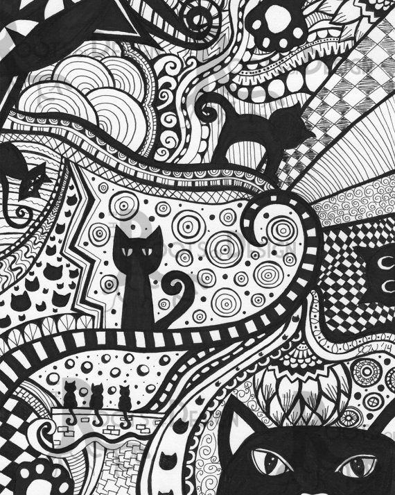 INSTANT DOWNLOAD Coloring Page - Cat Art Print zentangle inspired, doodle art, printable, Black Cats