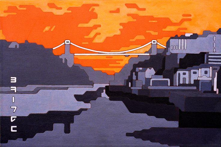 Clifton Suspension Bridge fluorescent spray paint and acrylic on canvas