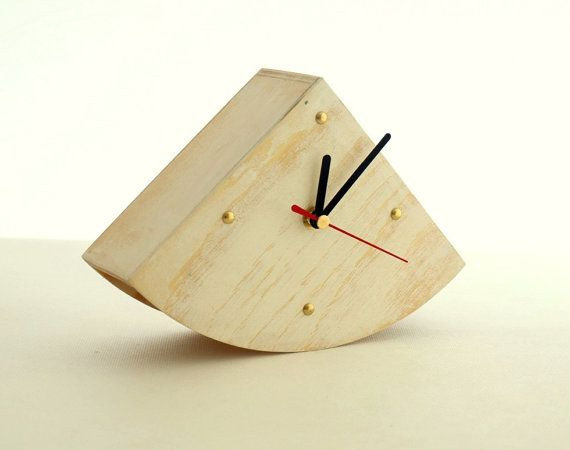 White Wooden clock Desk Clock Gold points Rustic style