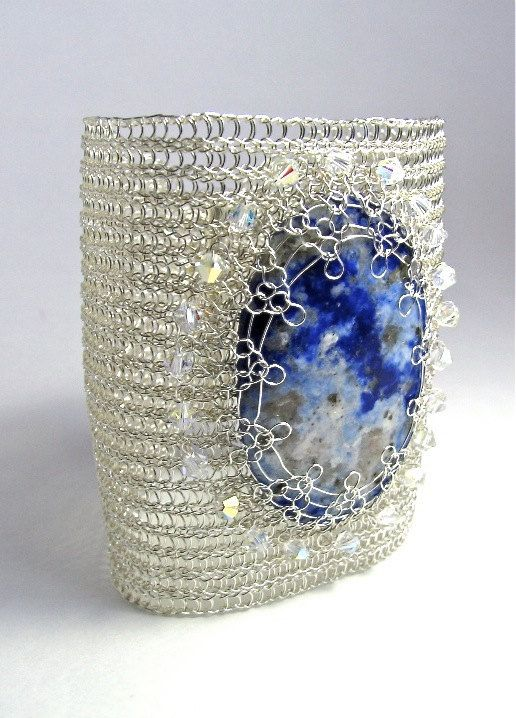 Extra wide cuff Lapis lazuli bracelet Cuff wire crochet handmade bracelet with  Swarovski crystals Designer cuff by KvinTal on Etsy