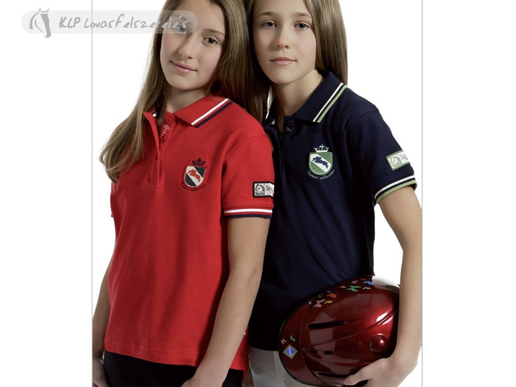 Tattini Girl Polo Shirt With Colour Contrast Trims - Made of 100% cotton pikee 230g weight, it is decorated by embroidered badge and double trims in colour contrast on collar and sleeves. Equestrian style label on left sleeve.