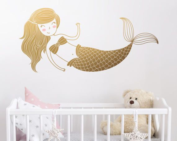 Beau Mermaid Wall Decal   Kids Room Decal, Nursery Decal, Removable Wall Sticker,  Cute