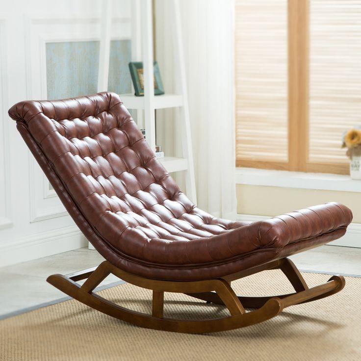 Cuero y Madera Mecedora Salón de Diseño moderno Para El Hogar Muebles de Salón Para Adultos de Lujo Mecedora Silla de Diseño