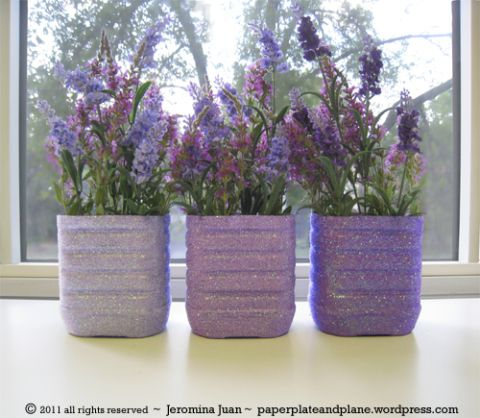 Upcycled Juice Bottle Glitter Vases