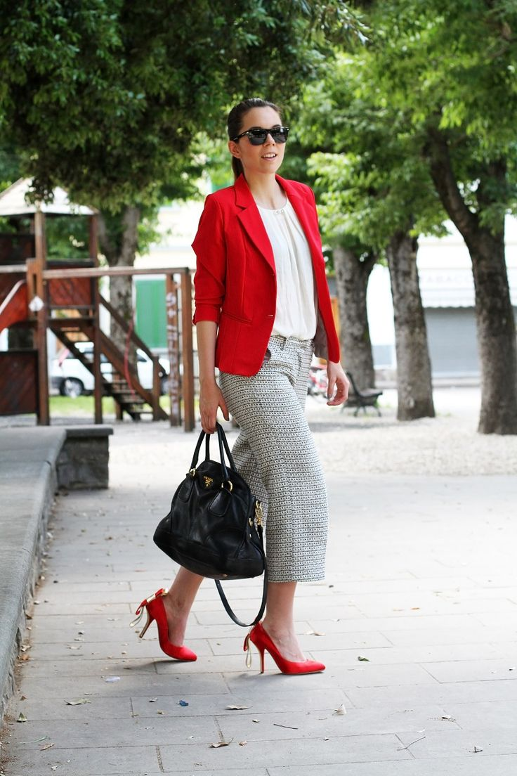 red shoes by caovilla paired with strange pants, prada bag, and a red jacket. What a cool look!   fashion blogger, fashion blog Irene's closet www.ireneccloset.com