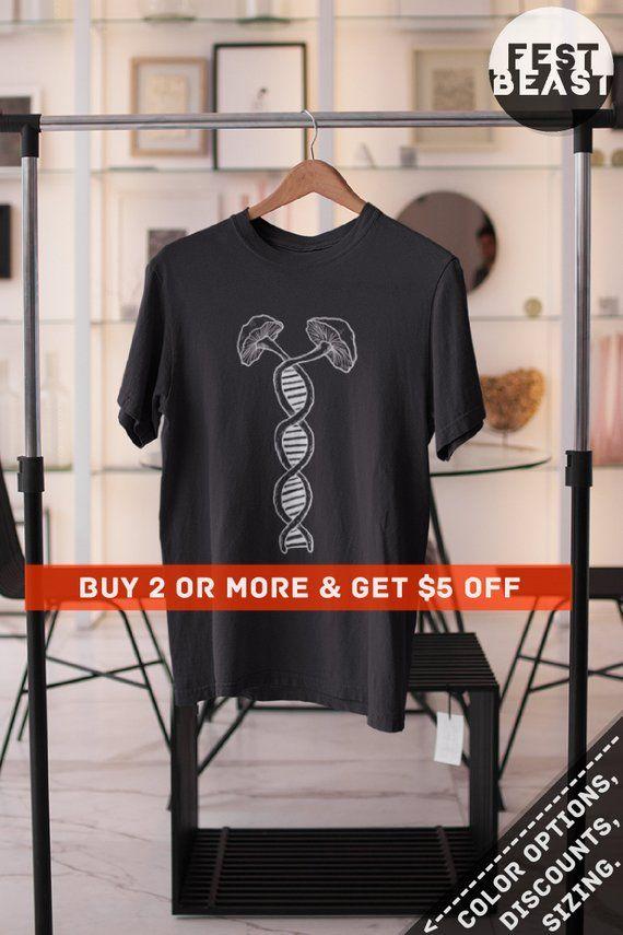 19f882291bb2 Double Helix DNA Strand T Shirt, Psychedelic Mushroom Shirt, Dna Art Magic  Mushrooms Shirt, DNA Mole