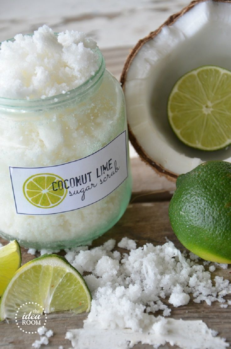 DIY Coconut Lime Sugar Scrub Ingredients  1/4 cup coconut oil (melted) 1 cup white sugar 1 TBSP shredded coconut 6-8 drops of Lime Essential Oil