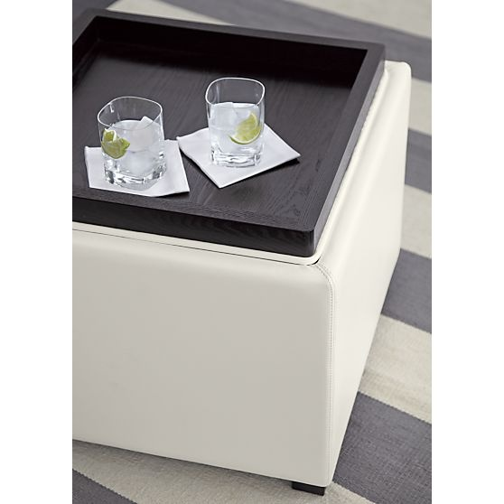 Stow Blanco 22 Leather Storage Ottoman In Storage