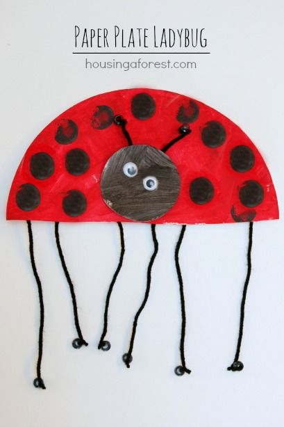Paper Plate Ladybug ~ simple spring kids craft. I like that they can practice tying knots