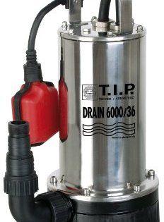 T.I.P. 30136 Pompe submersible pour eaux usées Drain 6000/36: Corps et arbre moteur en acier inoxydable Convient pour les utilisations…