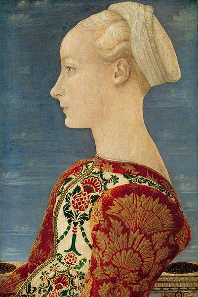 Портрет Доменико Венециано (1400-1461) определён, как Лукреция Ландриани (родившийся ок 1440). Она была любовницей Галеаццо Мария Сфорца, герцога Милана, и мать его известной внебрачной дочери, Катерине Сфорца, Леди Имоле, графиня Форли.
