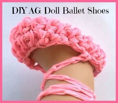 Make your 18 inch dolls a cute pair of American Girl Ballet Shoes.  These are made entirely from pink Rainbow Loom bands. Quick and Easy!
