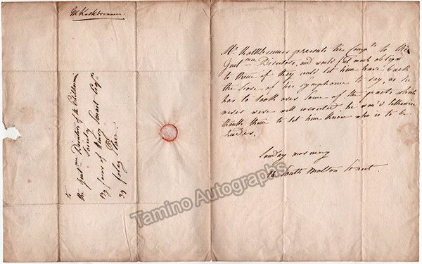 Kalkbrenner, Friedrich - Autograph Letter to the Philharmonic Society