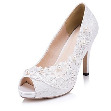 Women's Shoes Peep Toe Stiletto Heel Lace Heels with Pearl Wedding Shoes More Colors available - USD $ 39.99