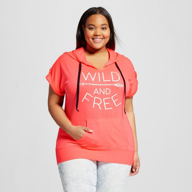 Women's Plus Size Wild & Freetab Sleeve Graphic Hoodie Coral (Pink)